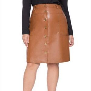 Eloquii Like New Faux Leather Cognac Skirt